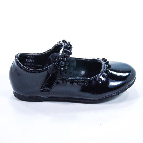 Soda Girls Veer-2 Infant Toddler Baby Girl Mary Jane Velcro Strap Glitter Dress Shoe,Black Pat,5 front-96059