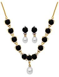 Nisa Pearls Black Synthetic Coral Necklace For Women - B00HLFCN0M