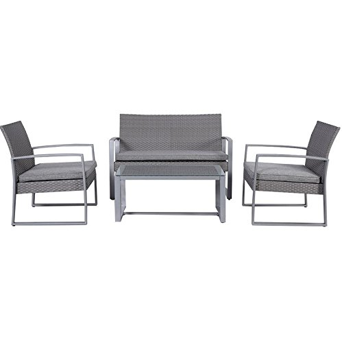 Patio-Furniture-Patio-Furniture-Sets-4-Piece-Rattan-Cushioned-Patio-Set-Color-GREY-1x-Double-Sofa-2-X-Single-Sofas-1x-Table-With-Tempered-Glass-Patio-Furniture-Cushions-For-Each-Seat-Offers-Comfortabl