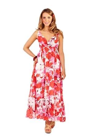 womens handprinted maxi dress 100% cotton 8 10 12 14 16 18 20 22 (8-10, pink tiered)