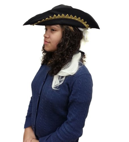 Child Colonial Style Hat With White Wig And Feather Costume Accessory