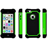 SOOPER Defender Heavy Duty Protective Hybrid Cover Case For Apple iPhone 5c- Green Hybrid