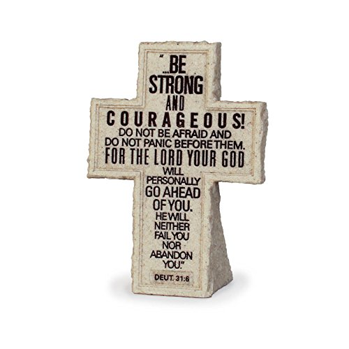Be Strong Hand Painted Cast Stone Laser Engraved Tabletop Decorative Cross - Verse Deuteronomy 31:6