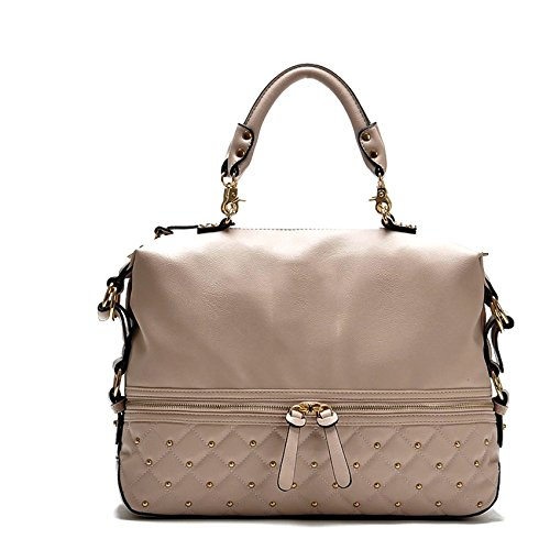 2ddcdf2afa6d Di Grazia Sequined Boston Style Italian PU Leather Women s Shoulder Sling  Satchel Handbag - Beige