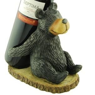 Woodi Bear Wine Bottle Holder, Free Standing Rack, 7.5-inch