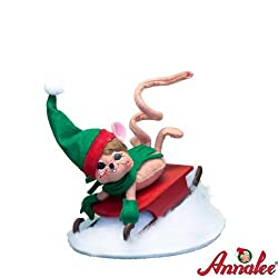 "Annalee 6"" Sledding Fun Mouse Figurine"