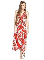 Grain Red Cotton Maxi Long dress for women
