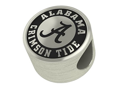 Alabama Crimson Tide College Collegiate Bead Charm Fits Most Pandora Style Bracelets Including Chamilia, Troll and More. Licensed High Quality Bead in Stock for Fast Shipping