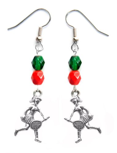 """""""Tennis Girl"""" Tennis Earrings (Team Colors Forest Green & Red)"""