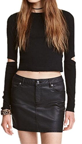 Sexy Cut Out Elbow Ribbed Rib Knit Jersey Cropped Crop T-shirt Tee Top Black 2XL
