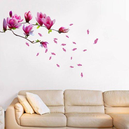 Walplus Giant Magnolia Flowers Tree Decals Wall Sticker