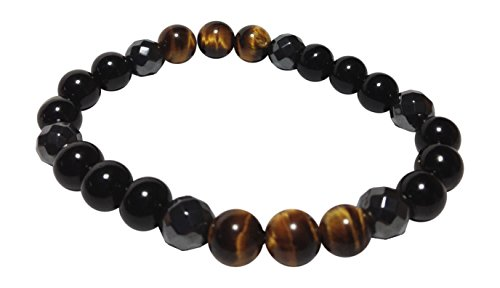 Zombie Slayer: Brown Tourmaline, Tiger's Eye, Obsidian, & Hematite Beaded Gemstone Stretch Bracelet