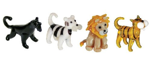 Looking Glass Miniature Collectible - Panther / Tiger / Lion (4-Pack)