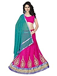 Suchi Fashion Pink & Turquoise Embroidered Semistitched Party Wear Lehenga Choli