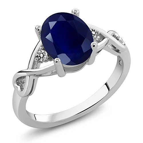 Sterling Silver Blue Sapphire & White Diamond Women's Ring