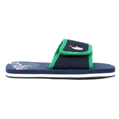 Polo Ralph Lauren Kids Ferry Slide Sport Slide Sandal (Toddler/Little Kid/Big Kid),Navy/Green,13 M Us Little Kid
