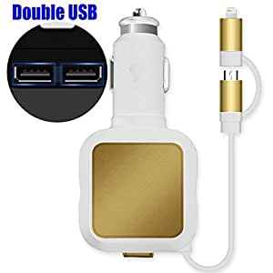 Car charger, Shinefuture 2 Port 4.8A Dual USB Car Chargers + 2-in-1 Retractable Cable for Iphone 6S Plus 5S 4S Samsung Galaxy S7 Edge S6 S5 Note and Other IOS or Android Devices (White+Gold)