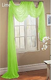 LuxuryDiscounts Beautiful Elegant Solid Lime Green Sheer Scarf Valance Topper 40\