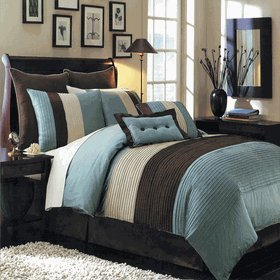 Royal Hotel 8pc Blue Hudson Comforter set, Queen