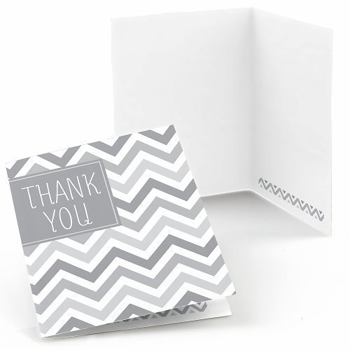 Chevron Gray Thank You Cards (8 count)