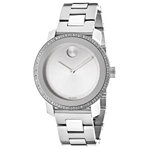 Movado 3600149 36mm Diamonds Silver Steel Bracelet & Case Mineral Women's Watch
