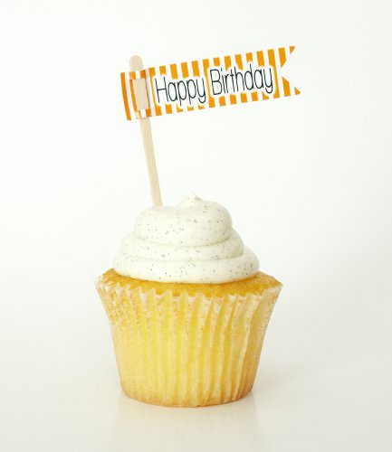 """""""Happy Birthday"""" Cake Toothpick Cupcake Topper, Orange (Set Of 12) - Children'S Parties And Corporate Events front-279610"""