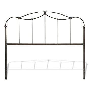 Fashion Bed Group Affinity Metal Headboard Panel with Straight Spindles and Detailed Castings, Blackened Taupe Finish, Queen