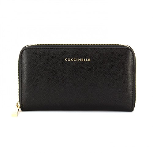 COCCINELLE Metallic Saffiano Zip Around Wallet Nero