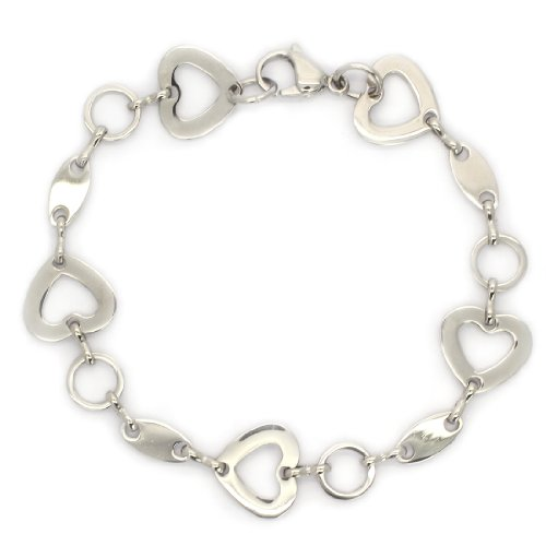 STAINLESS STEEL Stylish Hollow Out Heart & Ring Link Bracelet / Bangle (LIFETIME WARRANTY)
