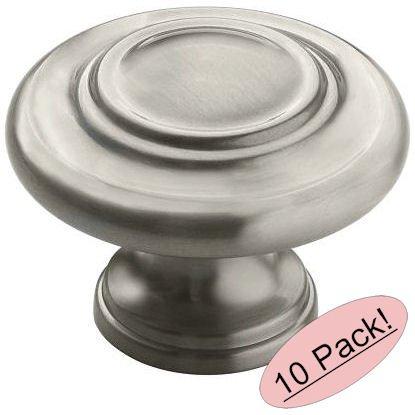 Amerock BP1586-2-G10 Inspirations 3-Ring Large Oversized 1-3/4 Inch Diameter Satin Nickel Round Cabinet Hardware Knob / Bi-fold Closet Door Knob - 10 Pack (Bifold Door Knobs compare prices)