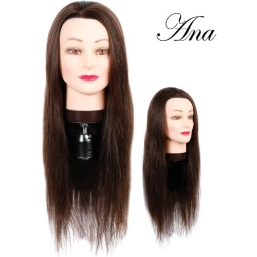 Hairart 24 Cosmetology Mannequin Head Human Hair, Dark Brown Hair   Anna