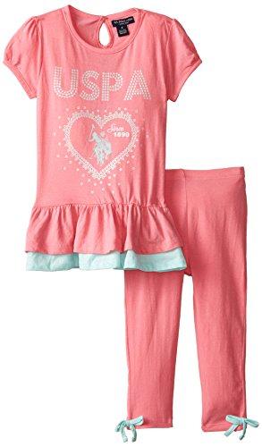 U.S. Polo Assn. Little Girls' S/S Peplum Top & Capri Length Leggings, Light Pink, 6X