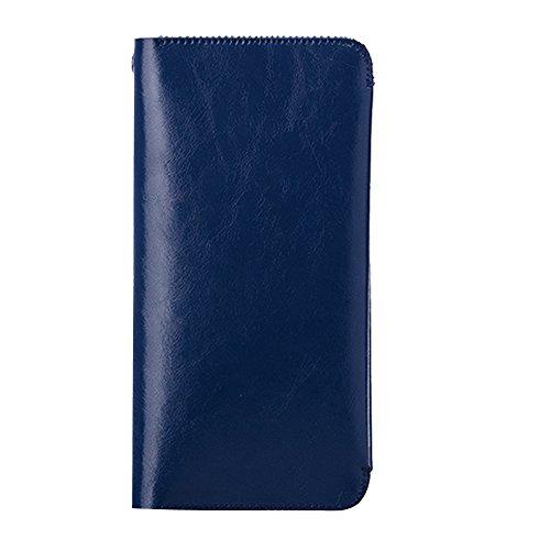 Skitic Long Design Multifunzione Chiusura Magnetica Custodia Borsa Portafoglio, Grande Capacità Handmade Liscio Microfiber Wallet with Card Slots Holder Case Borsetta per iPhone 5 / 5S / 6 / 6S / 6 Plus / 6s Plus / Samsung / Sony / LG - Blu