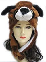 Plush Dog Animal Hat - Dog Hat with Ear Flaps and Poms
