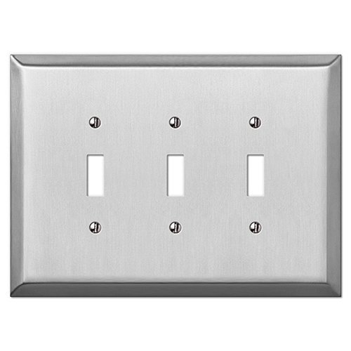 Oversized Stainless Steel - 3 Toggle Wallplate
