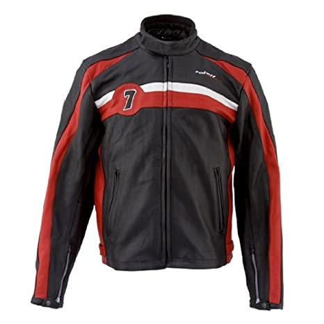 Roleff Racewear 8226 Blouson Cuir Barry, Noir/Rouge, XXL