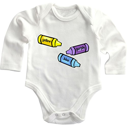 Yellow Purple Blue Crayons Cotton Baby Infant Long Sleeve Baby Bodysuit Creeper White 18 Months front-647146