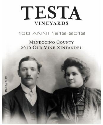 2010 Testa Vineyards Mendocino County Old Vine Zinfandel 750 Ml
