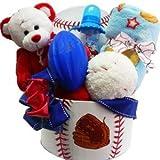 American All Star Baby Boy Gift Basket with Teddy Bear