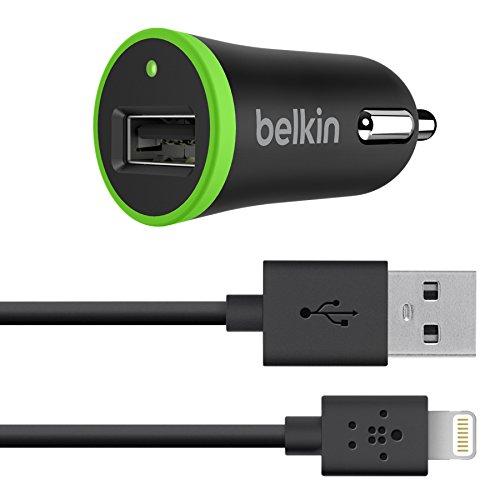 Belkin F8J026bt04-BLK Micro Caricabatteria Auto con Cavo Lightning per iPhone, 1.2 m, 1 A/5 W, Nero