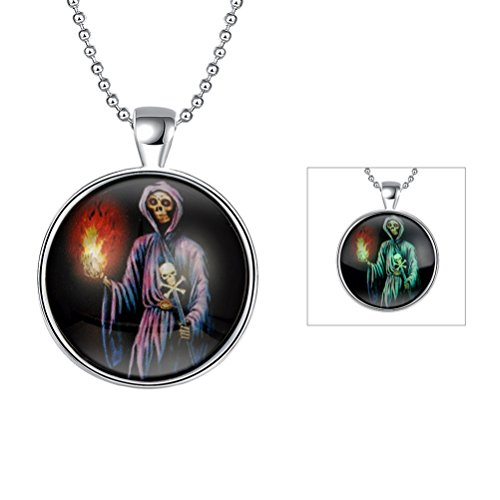 SunIfSnow Halloween Natale scheletro fiamma fantasma scettro Noctilucent collana