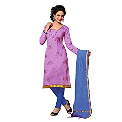 Resham Fabrics Purple Chanderi Dress Material
