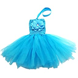 Buenos Ninos Baby Girls TUTU Crochet Tube Top Pettiskirt (Blue)