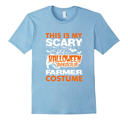 [Men's My Scary Halloween Spooktacular Farmer Costume Shirt Large Baby Blue] (Baby Farmer Halloween Costume)