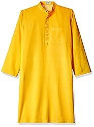 Fabindia Men's Knee-Long Cotton Kurta  (10420455_42_Yellow)