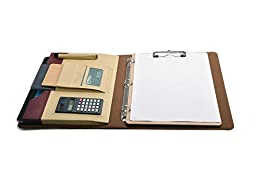 Designer 3 Ring Binder Portfolio Case with Clipboard, Mini Calculator and Tablet Pouch, Beige