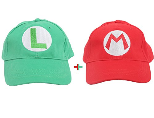 2pcs Super Mario Bros Baseball Cap Mario Luigi Cosplay Hats - Xmas Day