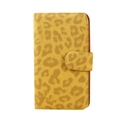 Storm Mart Luxurious Handbag Clutch Style Leopard Pattern Wallet Packet Fashion Pu Leather Magnetic Flip Cover Case With Credit Card Slots And Holder For Samsung Galaxy S3 I9300 (Yellow)