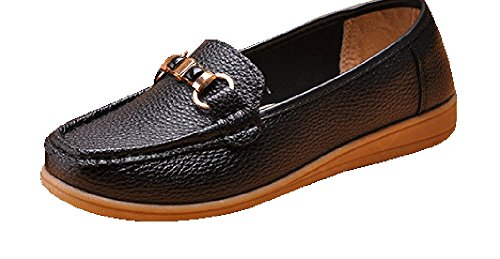 perfectaz-women-comfortable-buckle-decorated-slip-on-ruched-rubber-sole-flat-walking-loafers55-bm-us