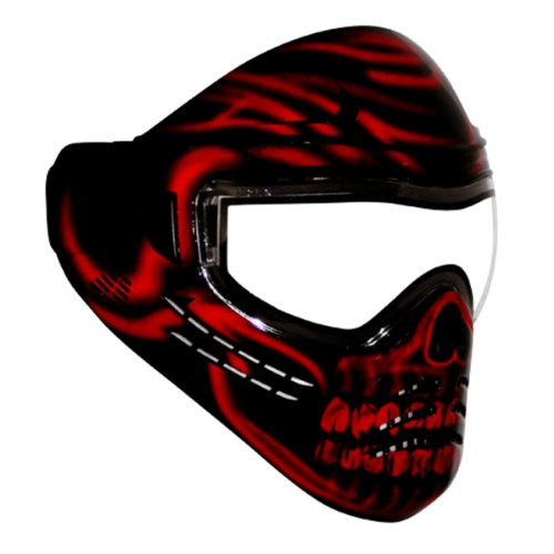 Save Phace Diss Series Diablo Tactical Mask With Red Skull Graphics, Black front-491305